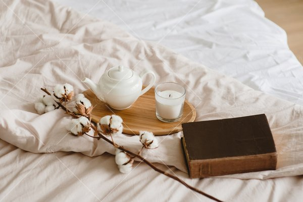 cozy lifestyle still life with tea and book