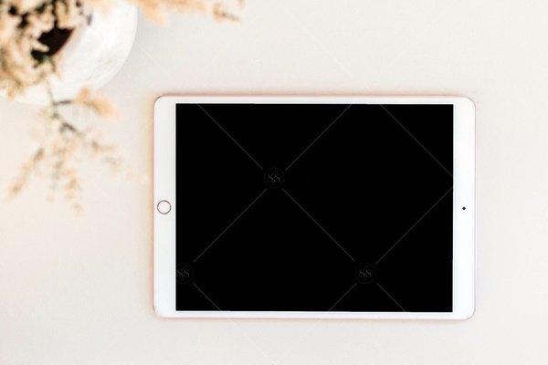 simple tablet mockup flat lay