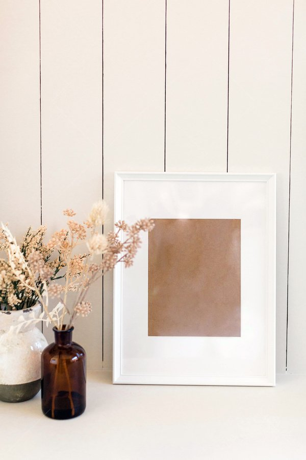 frame mockup with vases