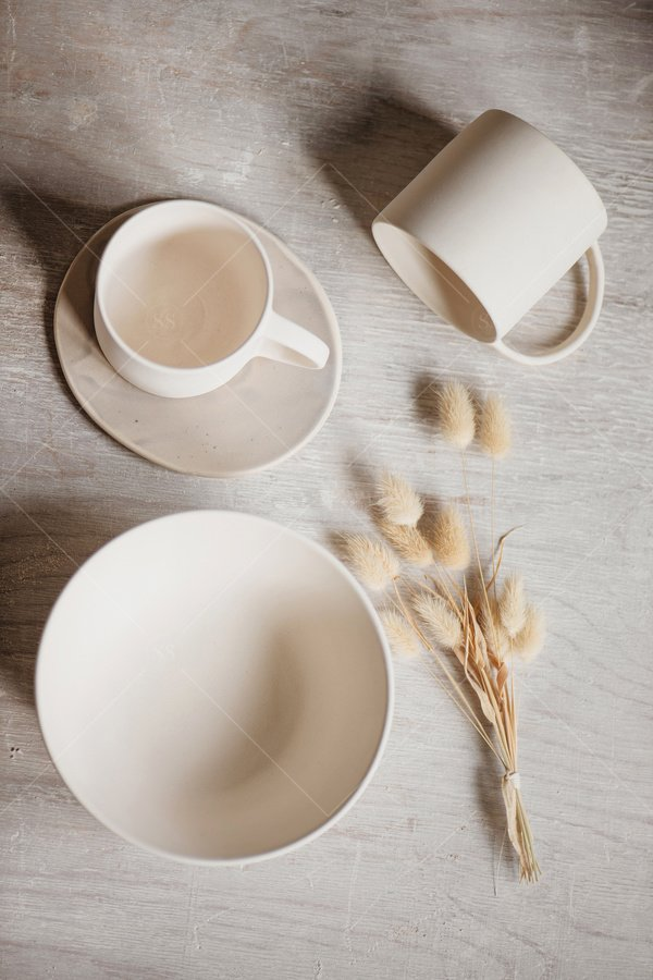 handmade ceramics still life stock photo