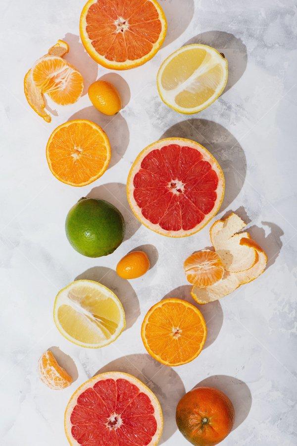 fruit slices still life stock photo