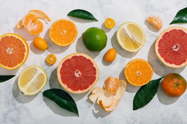 cut citrus still life stock photo