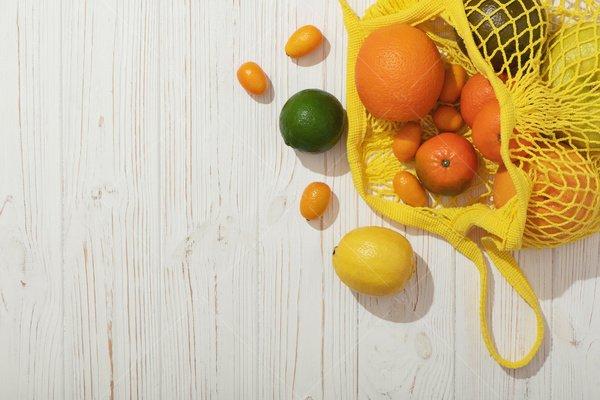 fruit in market bag stock photo