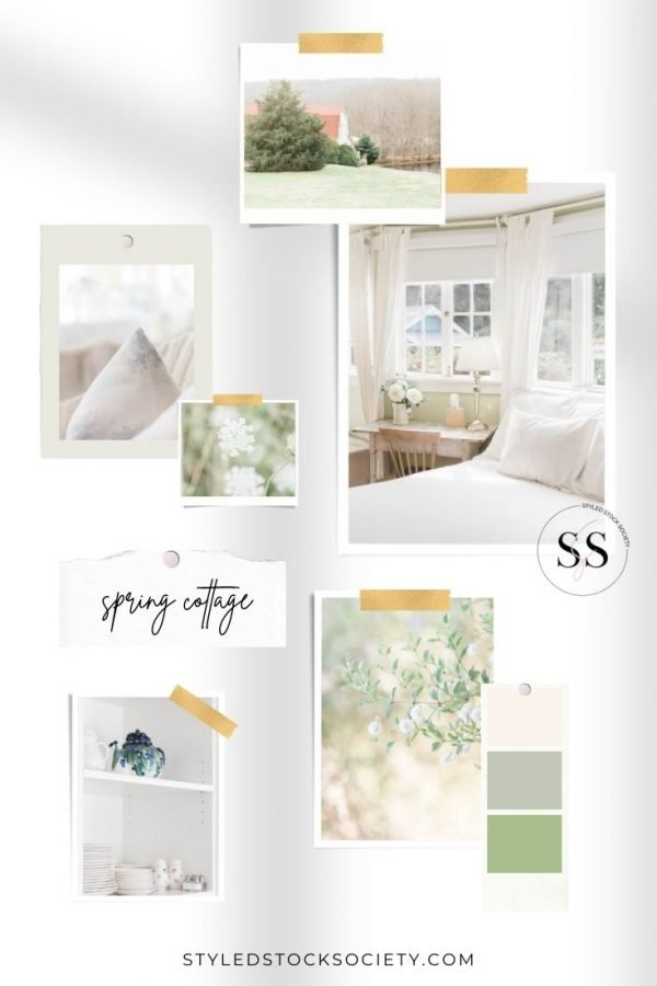 Spring Cottage Stock Photos Mood Board