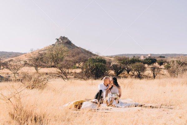 bride and groom kiss picnic stock photo