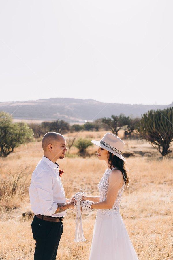 desert handfasting ceremony stock photo