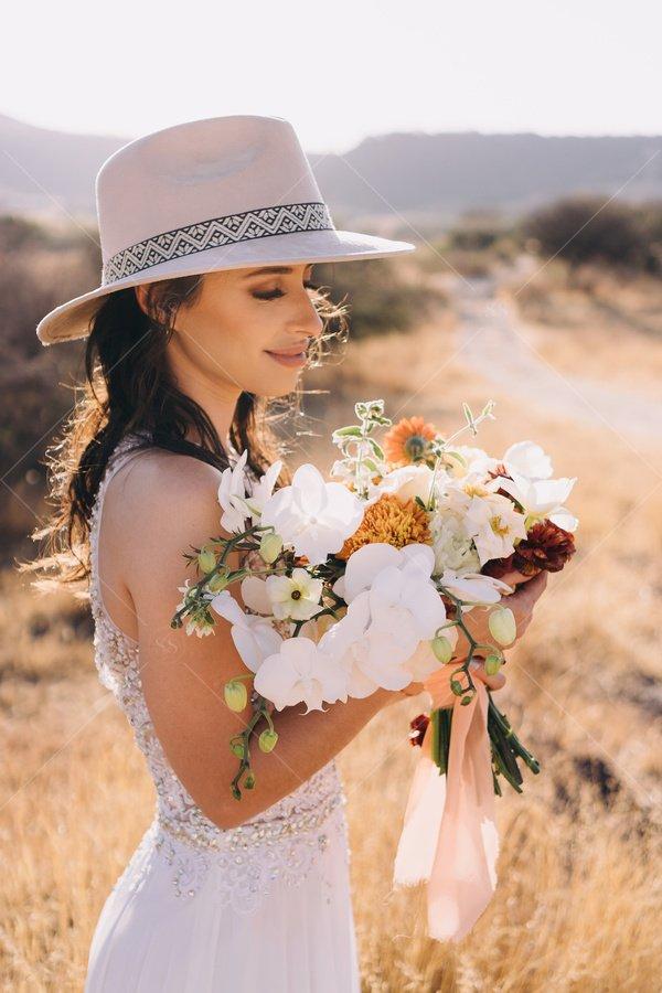 bride with wedding bouquet stock photo