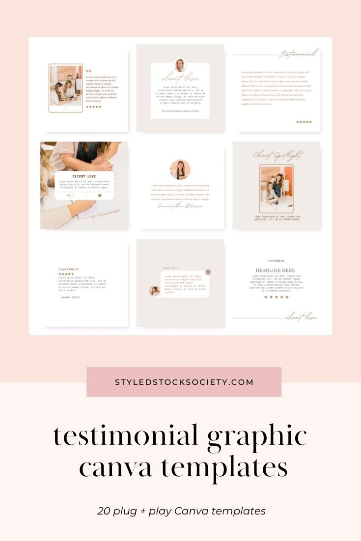 Testimonial Graphic Customizable Canva Templates