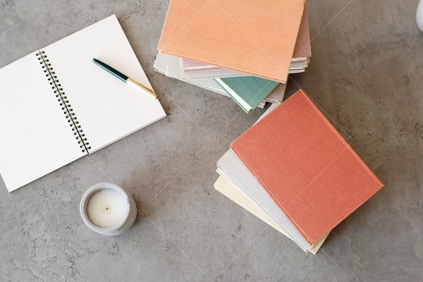 books and notebook mockup stock photo