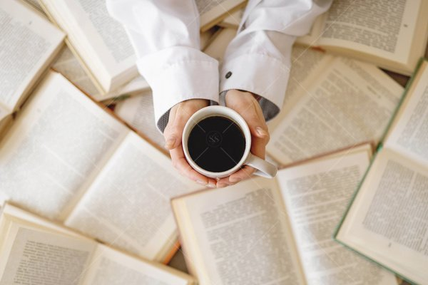 books and coffee stock photo