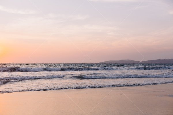 beach sunset or sunrise stock photo