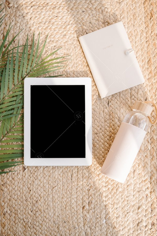 tablet mockup flat lay stock photo