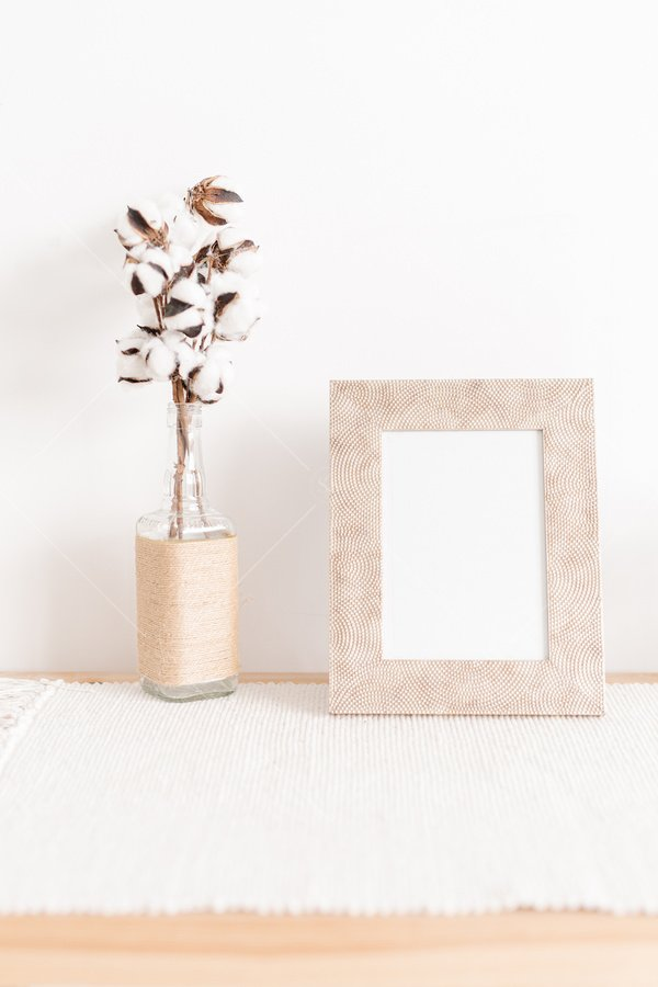 neutral home decor picture frame mockup stock photo