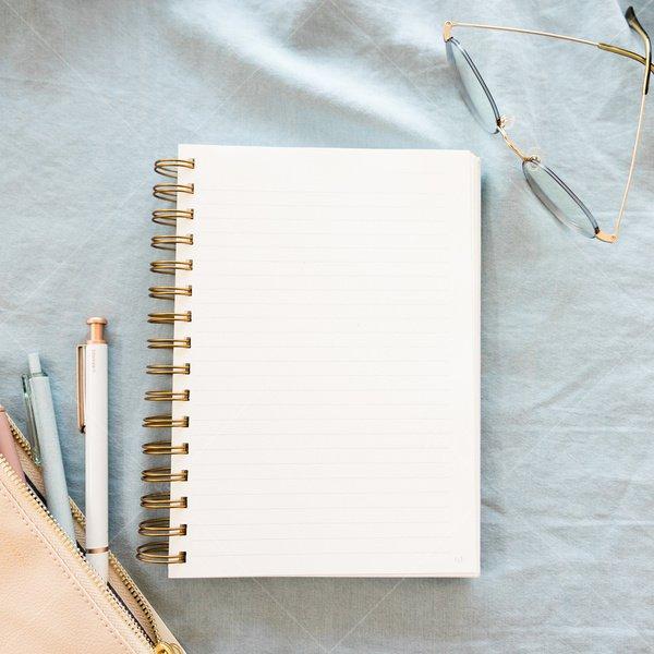 notebook mockup still life stock photo
