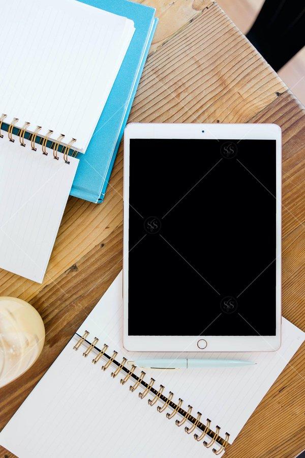 desktop still life tablet mockup stock photo