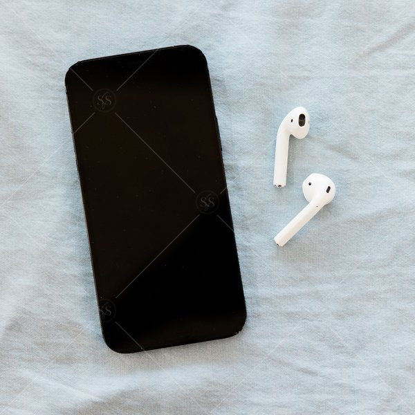 phone mockup with airpods stock photo