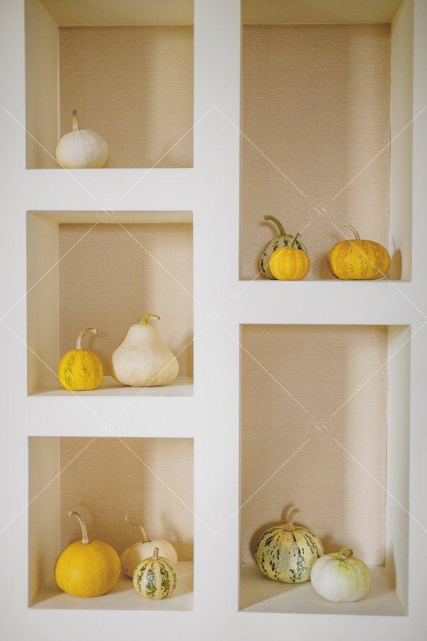 gourds and pumpkins fall home decor stock photo