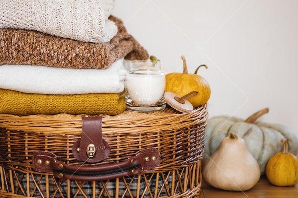 fall home decor still life stock photo