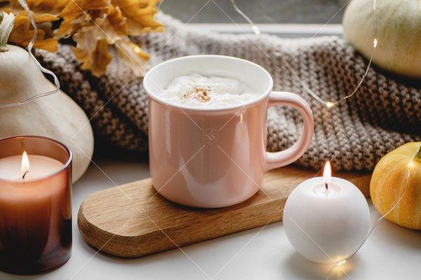 fall latte home decor still life stock photo