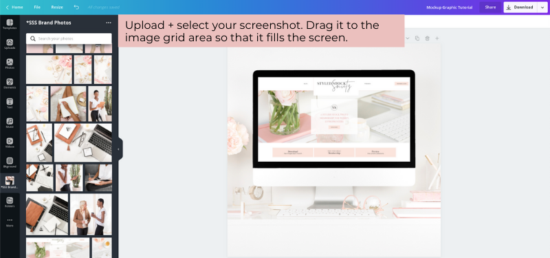 How to add screenshot to mockup images in Canva