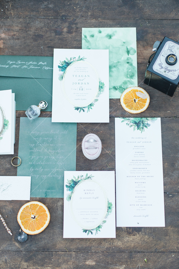 wedding, stationary, invitations, orange slices, florals, ring,