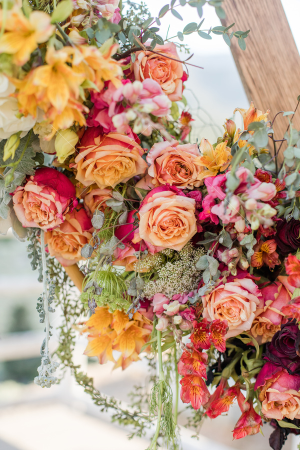 flowers, bouquet, florals, roses, garland, wooden pole, greenery,