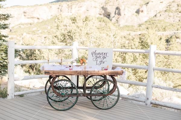 mountains, view, landscape, trees, wooden fence, rustic table, sign, decorative cart, wedding sign, porch, balcony