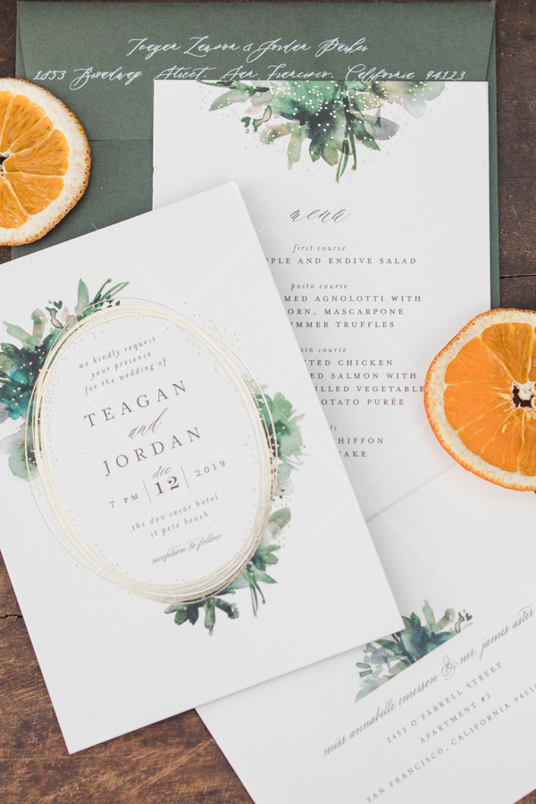 wedding, invitation, save the date, stationary, florals, orange slices