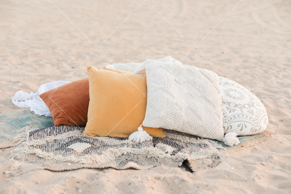 beach, pillows, sand, blankets, cozy,