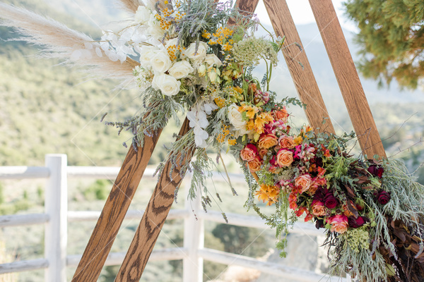 mountains, views, fence, wooden poles, bouquet, flowers, trees, roses, garland,