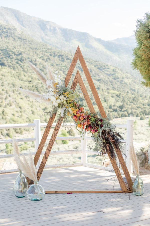 mountain, view, porch, balcony, decorative structure, triangles, flowers, garland, bouquet, trees, fence,
