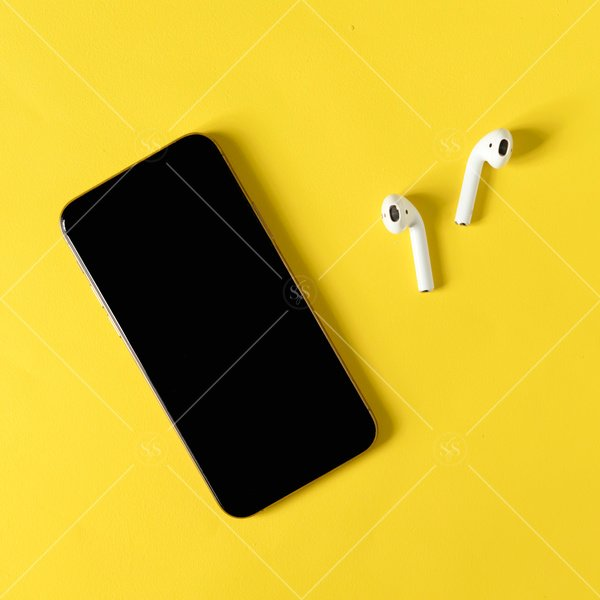 phone and ear buds flat lay mockup