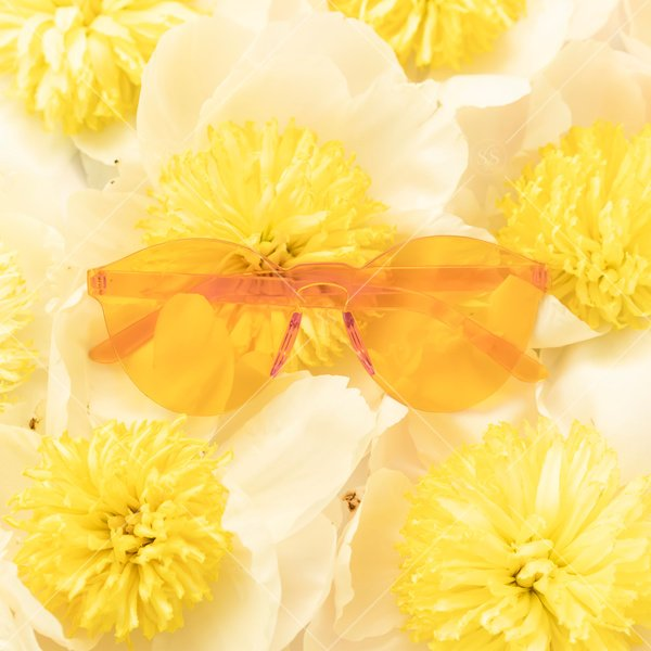 sunglasses in a pile of flowers