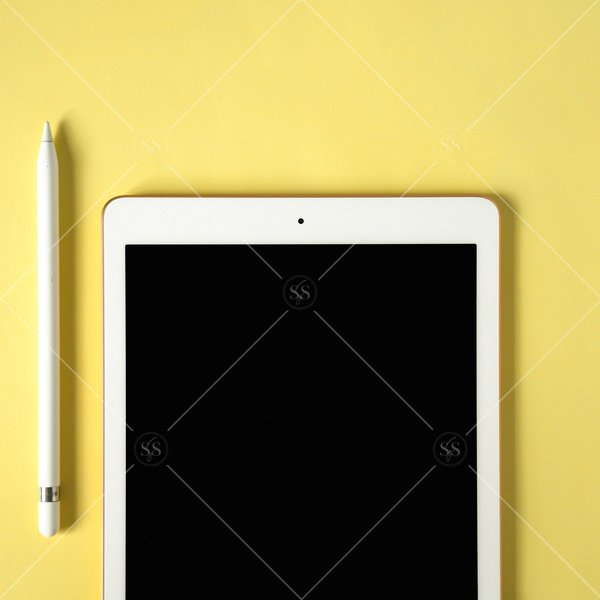 tablet mockup on a yellow background