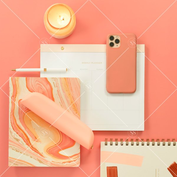 coral and peach office supplies