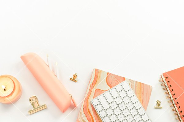 Chic coral office supplies.