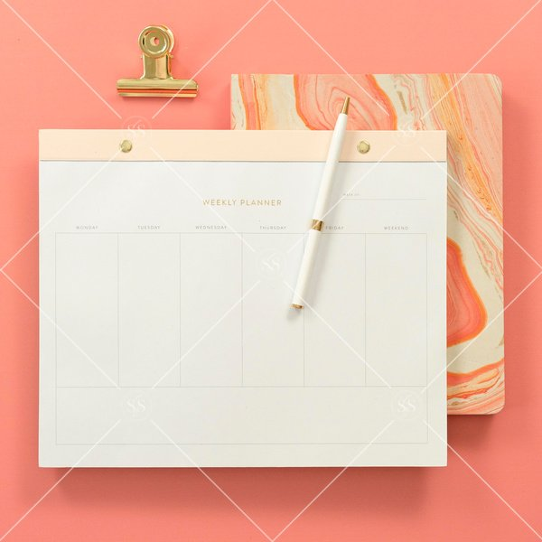 weekly planner and coral notebook