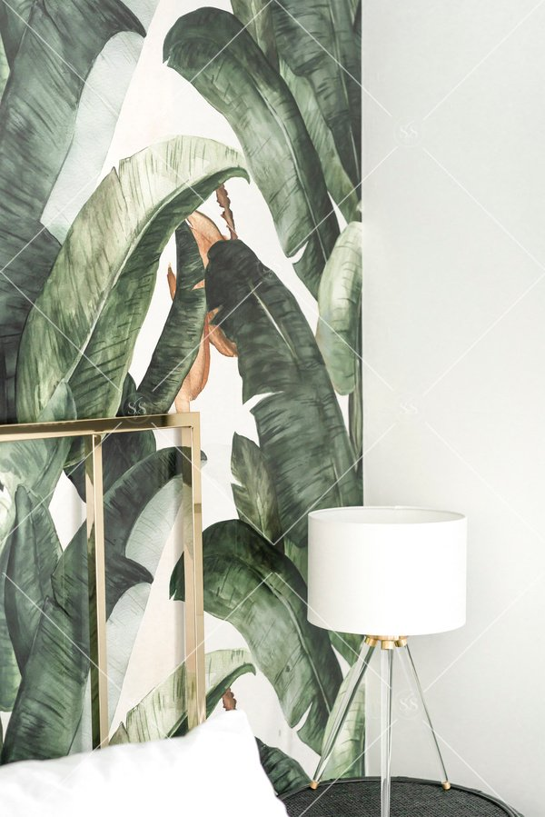 Palm print wallpaper bedroom