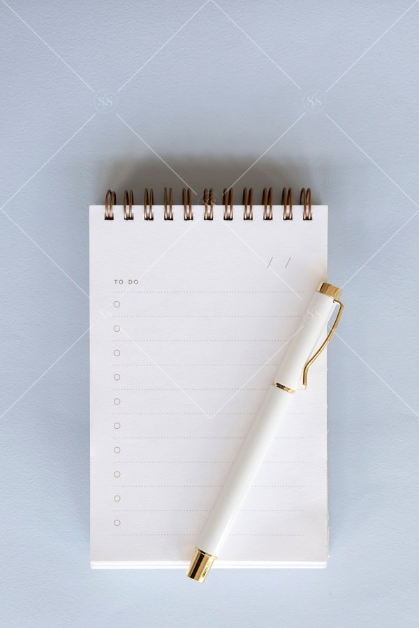 notebook to do list flat lay