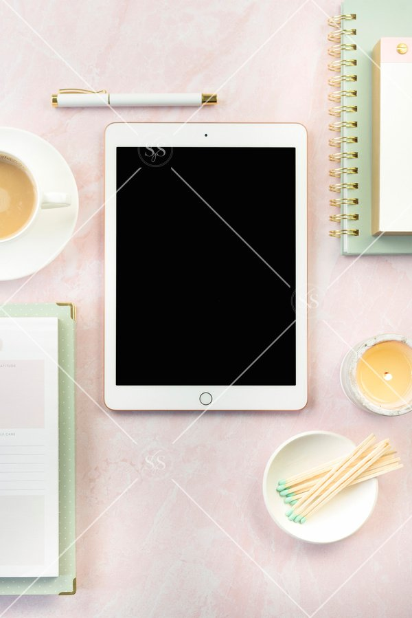 Styled desktop stock photo with iPad and coffee