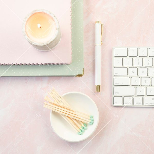 pink styled desktop stock photo