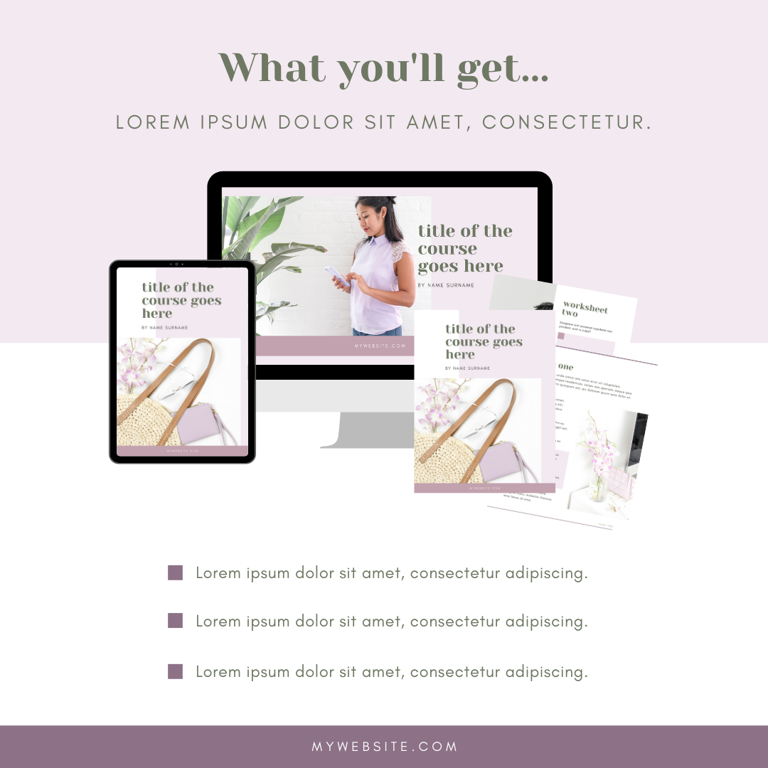 what you'll get online course launch instagram graphic canva template